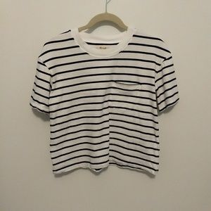 Madewell Black and White Striped Cropped Tee